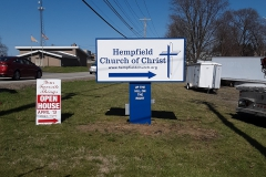 Hempfield Church of Christ monument signs in Indiana, PA