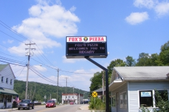 Foxs Ridgeway pylon signs with outdoor LED sign in Uniontown