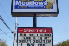 Pylon signs in Uniontown for Meadows Frozen Custard
