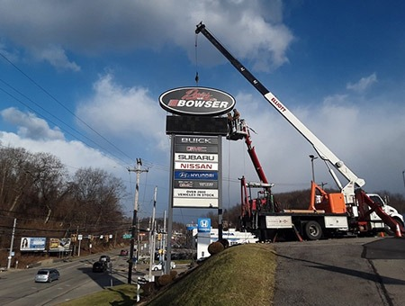 Pylon Signs in Indiana, PA, being installed